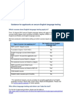 English Language Testing Guidance