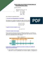 EL METODO SIMPLEX PARA SOLUCIÓN DE PROBLEMAS DE PROGRAMACIÓN LINEAL