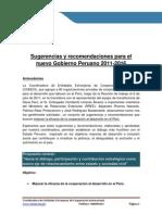 Sugerencias y Recomendaciones Para El Nuevo Gobierno Peruano 2011