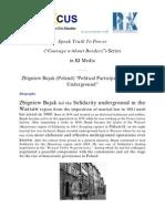 "Speak Truth To Power Series in KI-Media - Zbigniew Bujak (Poland) ""Political Participation and Life Underground"""