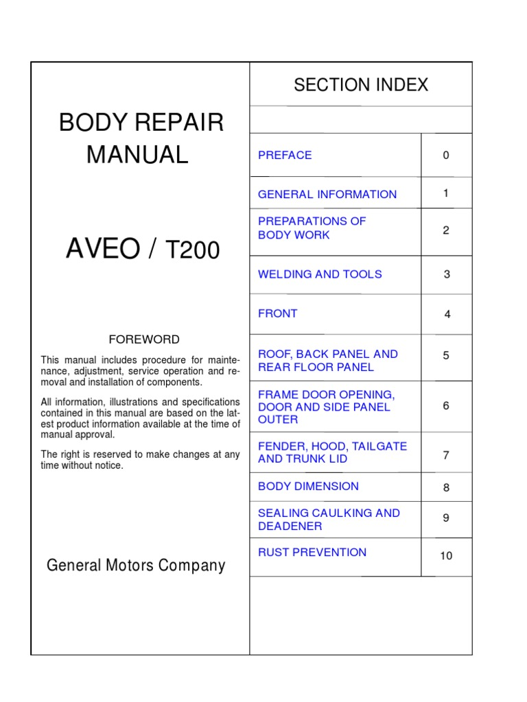 Aveo     Manual Body Repair