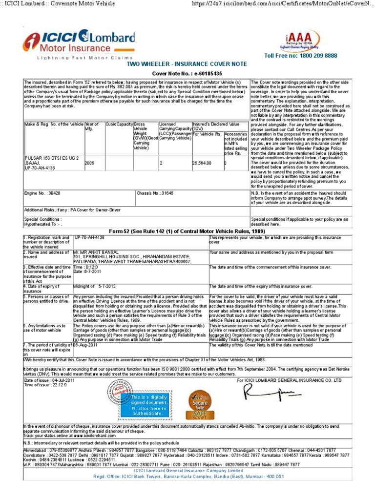 Icici Lombard Two Wheeler Insurance Claim Status Tracking