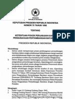 KEPUTUSAN PRESIDEN REPUBLIK INDONESIA NOMOR 75 TAHUN 1996