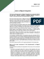 Memoria del `Eurobarómetro sobre la integración de los inmigrantes´