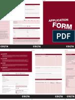 Costa Coffee Application Form
