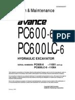 Komatsu PC600-6 SEAM046200T Operation & Maintenance Manual