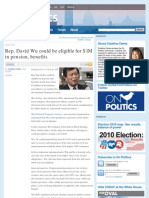 Rep. David Wu Could Be Eligible for $1M in Pension, Benefits