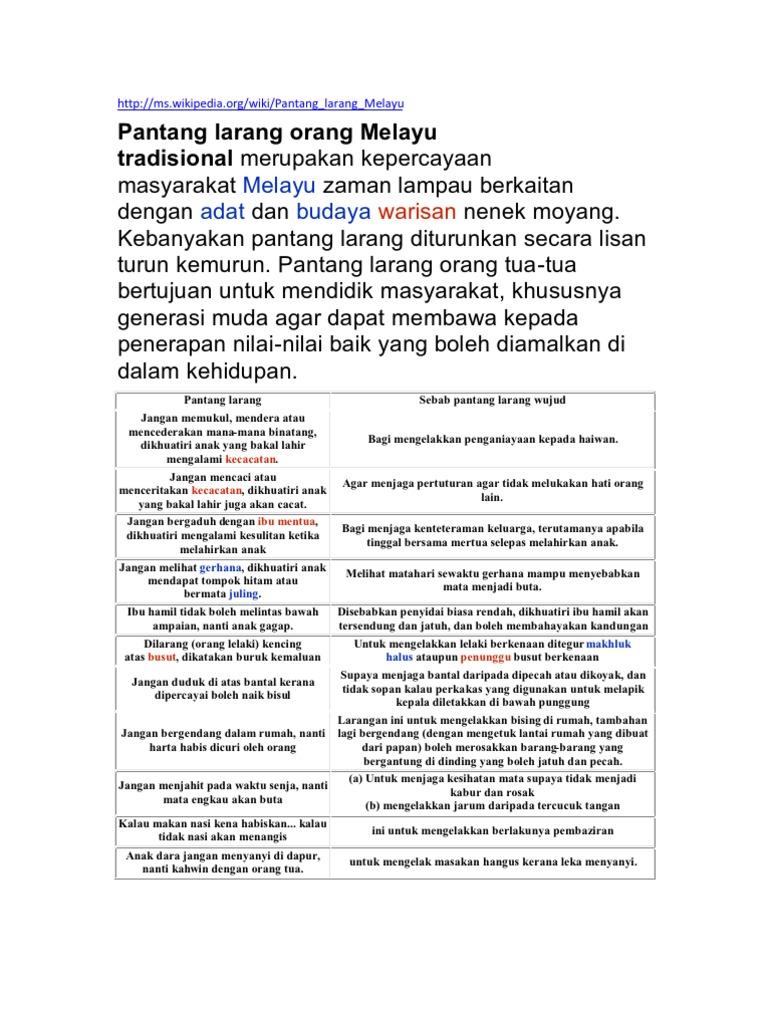 Note Pantang Larang Orang Melayu Tradisional