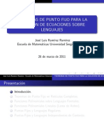 Teoremas de Punto Fijo para la Solución de Ecuaciones sobre Lenguajes.