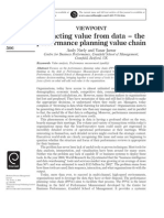Extracting value from data – the performance
