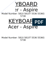 KEYBOARD - Acer 5810 5810T 5536 5536G 5738