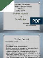Yazılım Kalitesi ve Standartlar