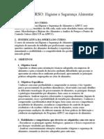 Curso Higiene e Segurança Alimentar e APPCC