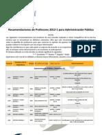Recomendaciones de Profesores 2012-1 AP FCPyS