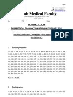 Result of Paramedical Exam Session February 2011