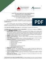 Lista de Documentos para Instituição de Condomínio