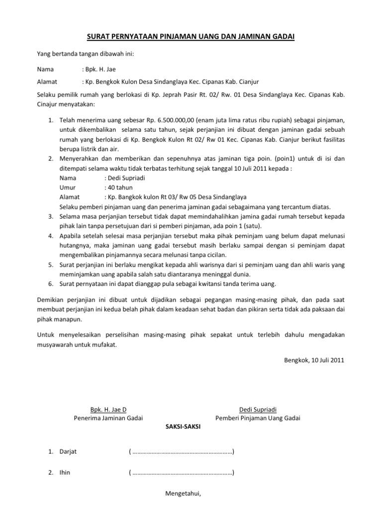 Cara Membuat Surat Perjanjian Hutang Piutang Dengan Jaminan