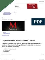 La posteridad de Adolfo Sánchez Vázquez