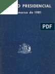 Augusto Pinochet - Discurso Presidencial 11 de Marzo de 1981.