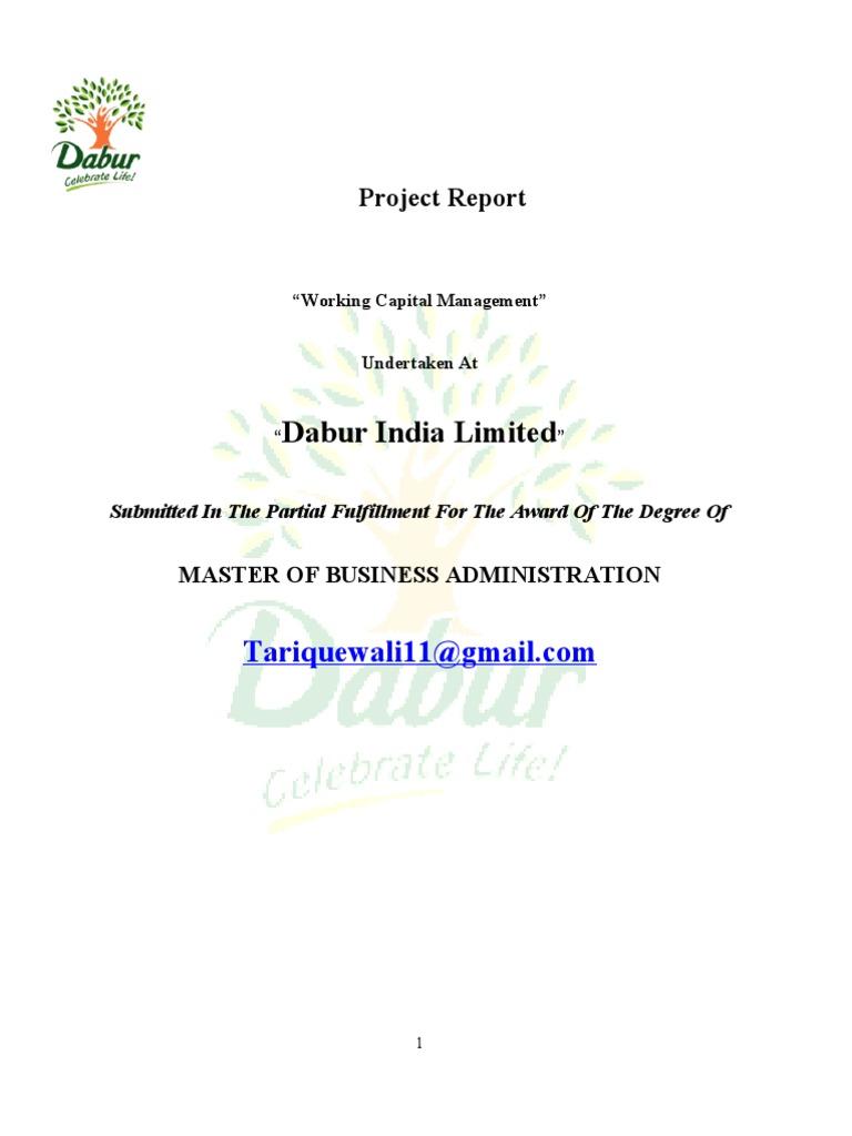 "Working Capital Management"" Dabur India | Working Capital | Banks"