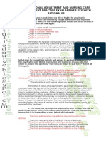 Professional Adjustment and Nursing Care Management Practice Exam Answer Key