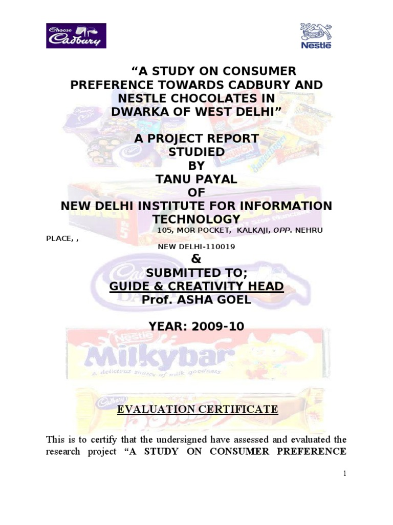 consumer preferance cadbury and nestle Of cadbury nig plc and nestle nig plc as two major contenders firms that trade on the floor of the nigeria stock exchange market hence, the thrust of the study is nigeria and the corporate headquarter records of these firms.