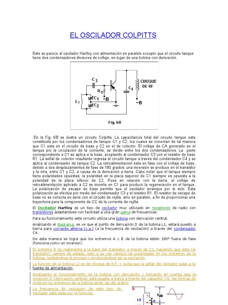 Circuito Oscilador : El oscilador colpitts