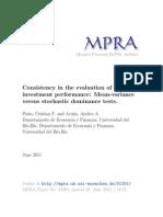 Consistencia de la evaluación del desempeño de inversiones financieras