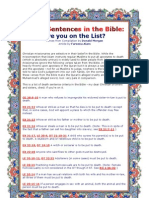 Death Sentences In The Bible ( Are You On The List)