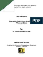 Educación Colombiana, Una Optica Afrocolombiana