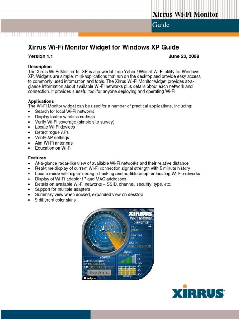 Xirrus wifi monitor gadget for windows 7 free download
