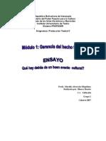 ENSAYO Gerencia Del Hecho Teatral II