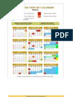 Malaysia Year 2011 Calendar