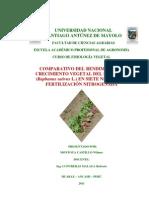 Comparativo Del Rendimiento de Rabanito Con Siete Niveles de Fertilizacion Nitrogenda