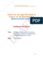 Guidance Document on Common Submission Format for Registration of Medical Devices in India