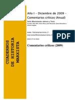 Comentarios de Intelectuales Cuadernos de Historia Marxista (Serie Movimiento Obrero y Tesis, Año 2009)