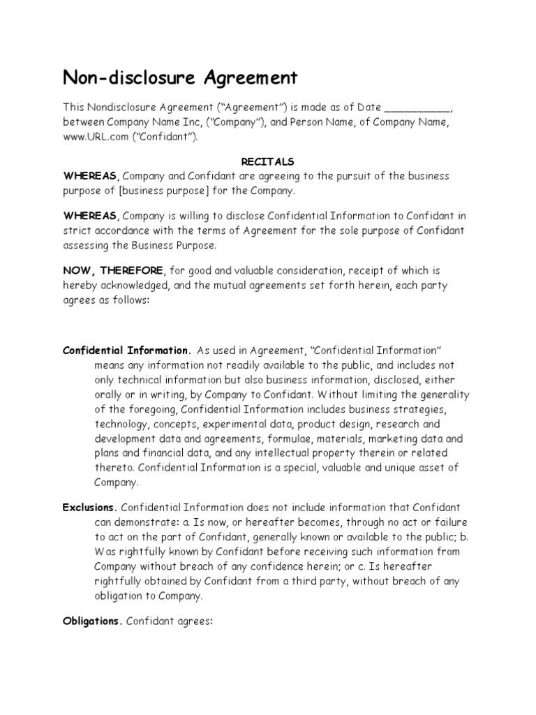 Nda Non Disclosure Agreement Non Disclosure Agreement