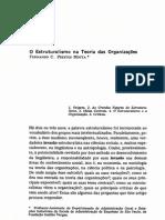MOTTA, Fernando C. Prestes. O estruturalismo na teoria das organizações. RAE, Rio de Janeiro, v. 10, n. 4, p.23-41, out.-dez. 1970