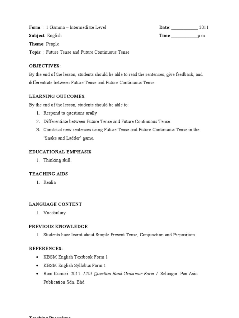Lesson Plan Future Tense English Language Lesson Plan