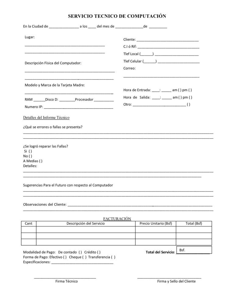 Planilla de Servicio Tecnico en computación