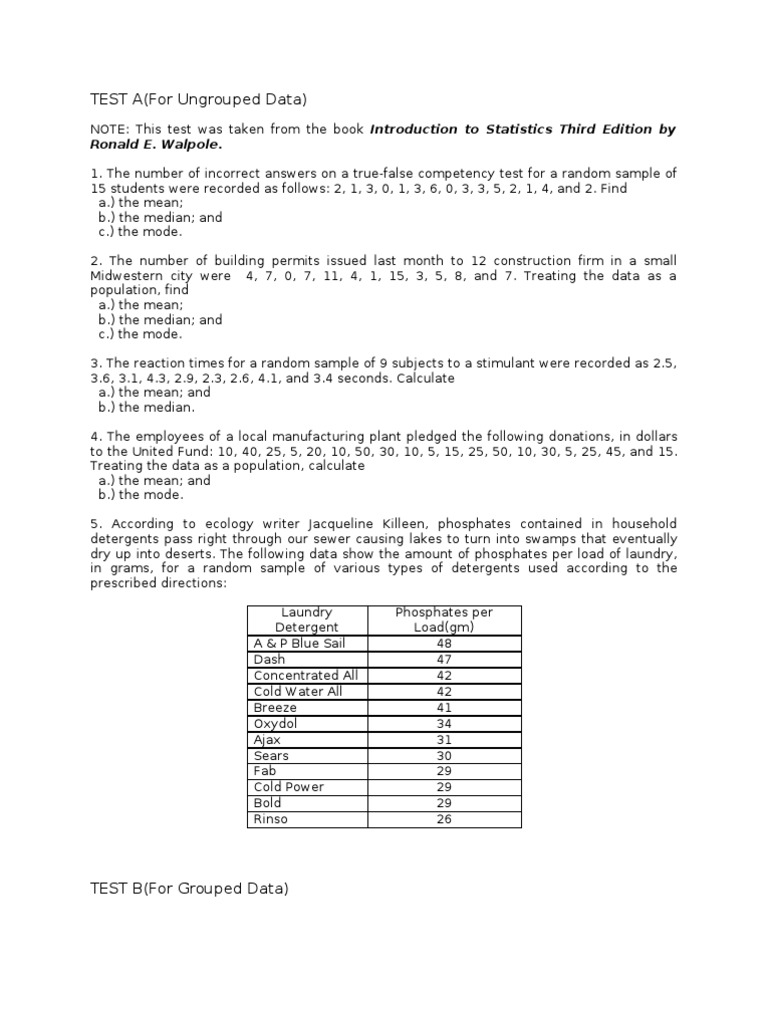 Exercises in Measure of Central TendencyGrouped and Ungrouped – Random Sampling Worksheet