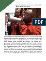 The Fourth Speech Was Given by Ashin Htarwara, General Secretary of All Burma Monks Associations.