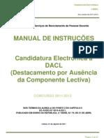 Manual de Instruções – Aplicação da candidatura e manifestação de preferências - DACL