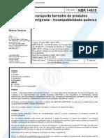 NBR 14619 - Transporte de Produtos Perigosos - Incompatibilidade Quimica