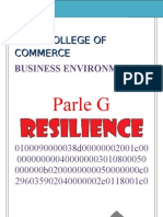 BUSINESS ENVIRONMENT PROJECT ON PARLE-G  B.E