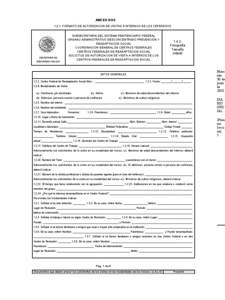 Formulario de registro de delincuentes sexuales