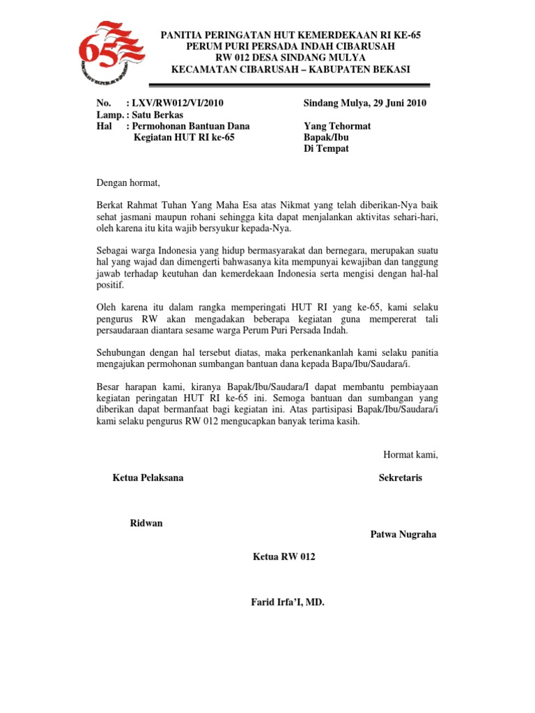 Contoh Proposal Hut Ri Di Sekolah Surat Box