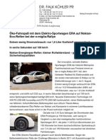 Öko-Fahrspaß mit dem Elektro-Sportwagen ERA auf Nokian-Eco-Reifen bei der e-miglia-Rallye / Extrem wenig Stromverbrauch