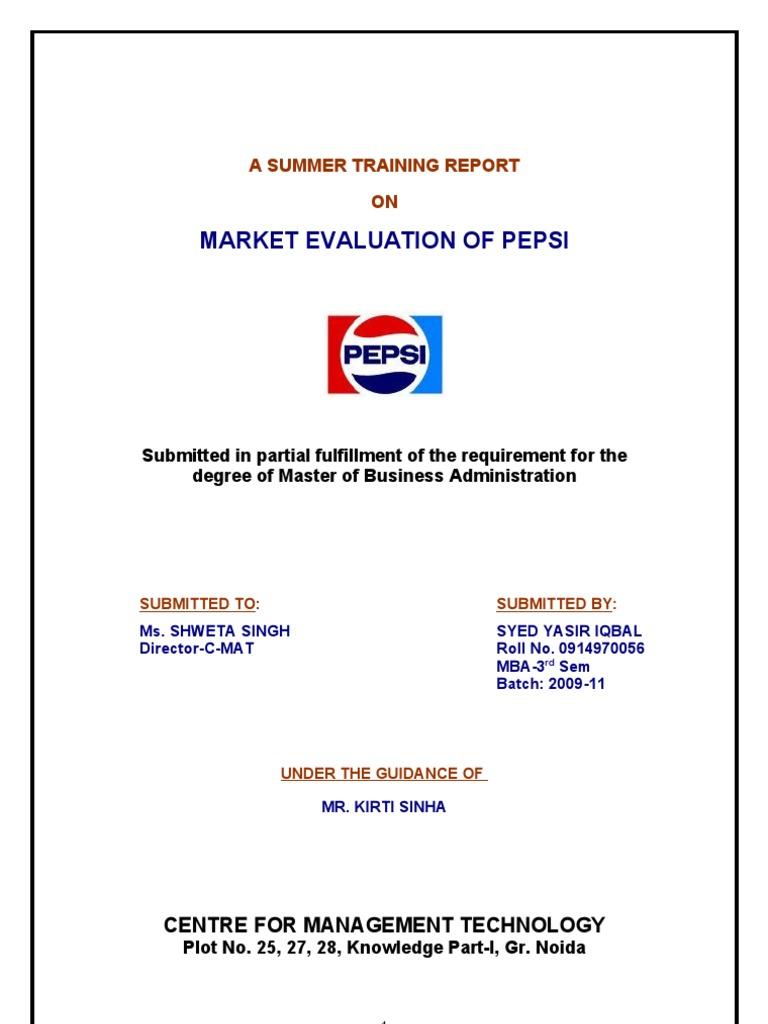 3209  Market Evaluation of Pepsi   Pepsi Co   Foods