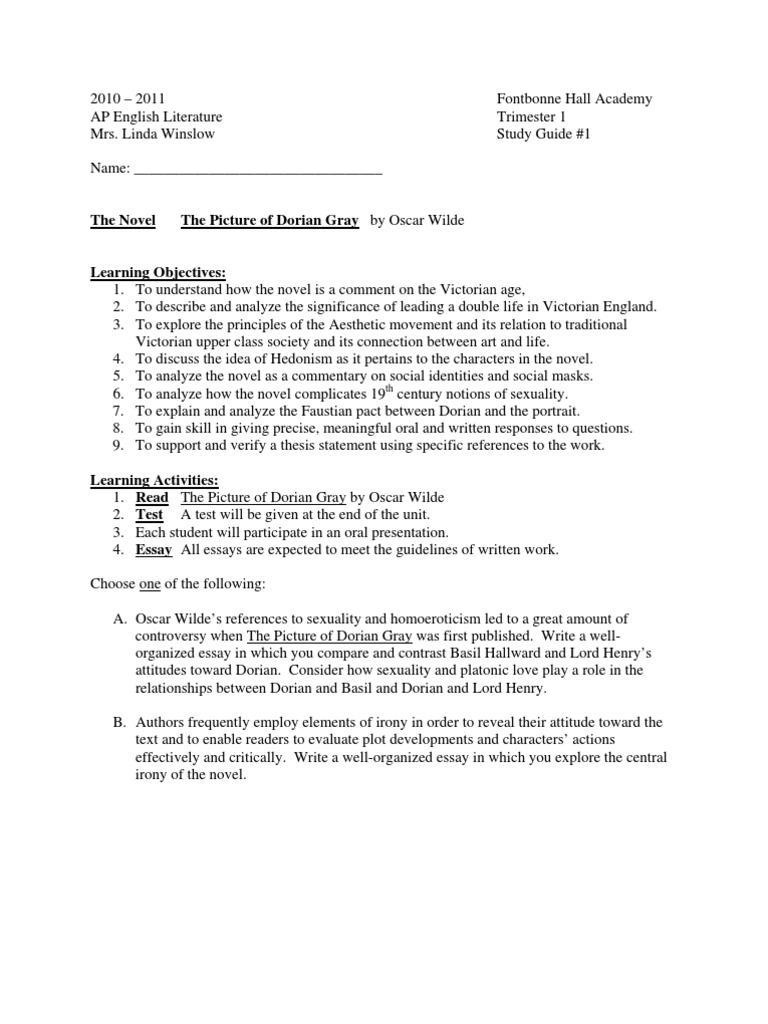 Essay Questions Dorian Gray  Dorian Gray Essay Assignment Essay Questions Dorian Gray Narrative Essay Thesis also Essay Thesis Statement Example Compare And Contrast High School And College Essay